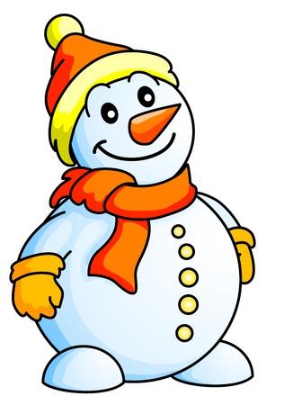 bonhomme de neige: Bonhomme de neige drôle, thème de Noël, Thème Nouvel An, Illustration isolée