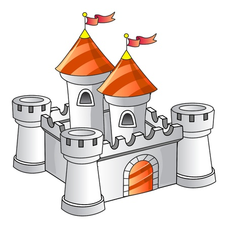 Fantasy Castle, Old Architecture, Kingdom, Isolated Illustration