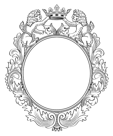 Floral Frame, Two Lions and Crown Illustration Vector