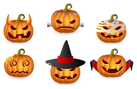 Halloween Pumpkin Set Horror Persons Icon Set Vector