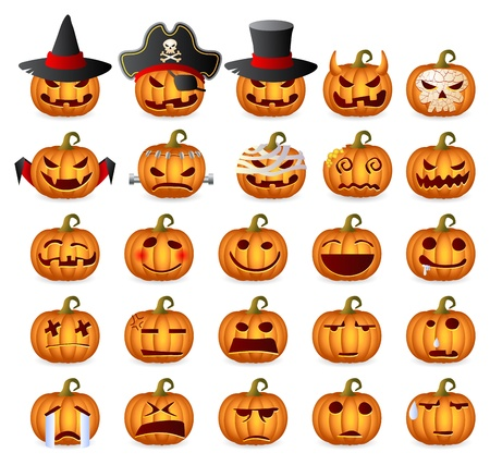Halloween Pumpkins Horror Persons Emotion Variation Icon Set Vector