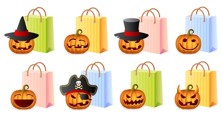 Pompoenen en shoppingbags, Halloween Shopping Set, Halloween Theme, Illustratie Stock Illustratie