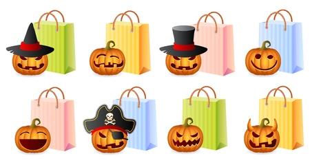 Pumpkins and Shoppingbags, Halloween Shopping Set, Halloween Theme, Illustration