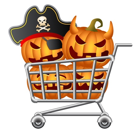 Pumpkins and Shoppingcart, Halloween Shopping Theme, Isolated Illustration