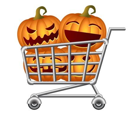 shoppingtrolley: Pumpkins and Shoppingcart, Halloween Shopping Theme, Isolated Illustration
