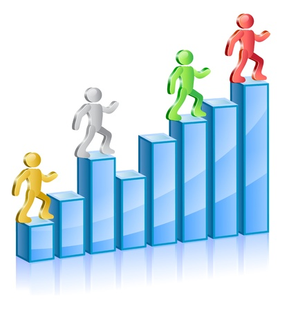 stepping:  Group of people in different colors walking up on diagram. Illustration.   Illustration