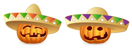 Halloween Pumpkins and Sombrero, Mexican Style, Illustration Vector