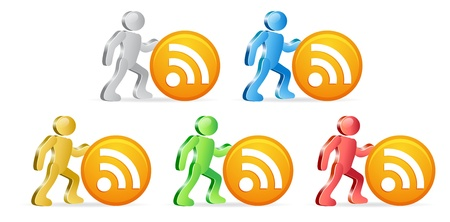 extensible: People and RSS icon. Group of people in different colors.  Illustration