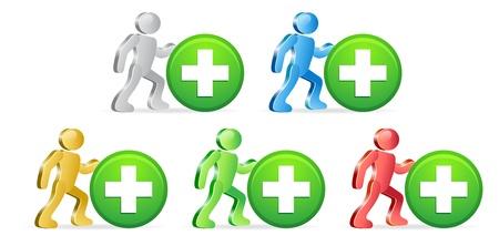 extensible: Las personas y los botones Plus y Se�ales. Grupo de personas en diferentes colores. Vector Illustration. Vectores