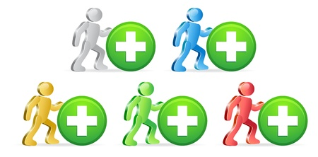 People and and Plus Signs Button. Group of people in different colors. Vector Illustration.