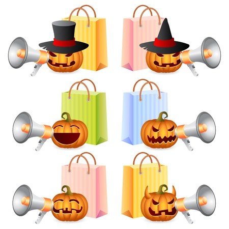 shoppingbags: Halloween Pumpkins shouting in megaphone; Pumpkins and Shoppingbags; Halloween Shopping Set; Halloween Theme; Vector Illustration Illustration