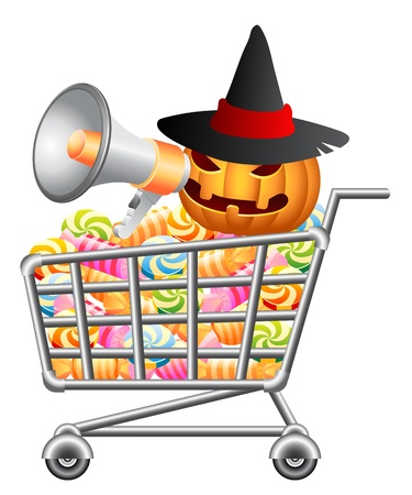 sweetmeat: Halloween pumpkin shouting in megaphone and sitting in shoppingcart with sweetmeat. Halloween shopping theme. Isolated vector illustration