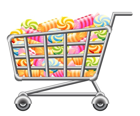supermarket checkout: Shoppingcart with Candy; Isolated Vector Illustration