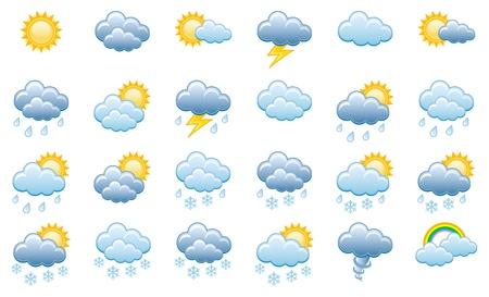 estado del tiempo: Meteorología Icons Set, Vector Illustration