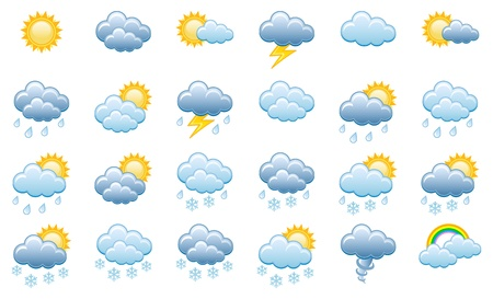 Meteorology Icons Set; Vector Illustration Vettoriali