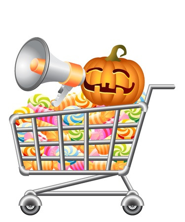 shoppingtrolley: Halloween pumpkin shouting in megaphone and sitting in shoppingcart with sweetmeat. Halloween shopping theme. Isolated vector illustration