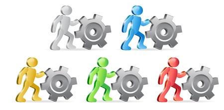extensible: Las personas y los engranajes. Grupo de personas en diferentes colores. Vector Illustration.