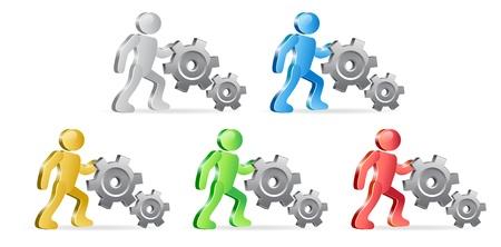 extensible: Las personas y los engranajes. Completar el proceso. Grupo de personas en diferentes colores. Vector Illustration.