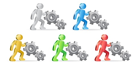 extensible: People and Gears. Complete the Process. Group of people in different colors. Vector Illustration.