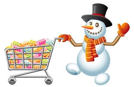 pushes: Snowman pushes shoppingcart with sweetmeat; Christmas  shoppingcart; Isolated vector Illustration