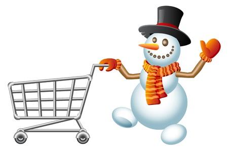 shoppingtrolley: Snowman pushes shoppingcart; Christmas  shoppingcart; Isolated vector Illustration Illustration
