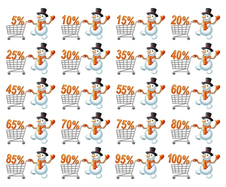 pushes: Snowman pushes shoppingcart with percent; Christmas  shoppingcart; Sale theme; Isolated vector illustration