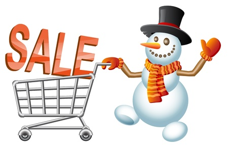 pushes: Snowman pushes shoppingcart with letter; Christmas  shoppingcart; Sale theme; Isolated vector illustration