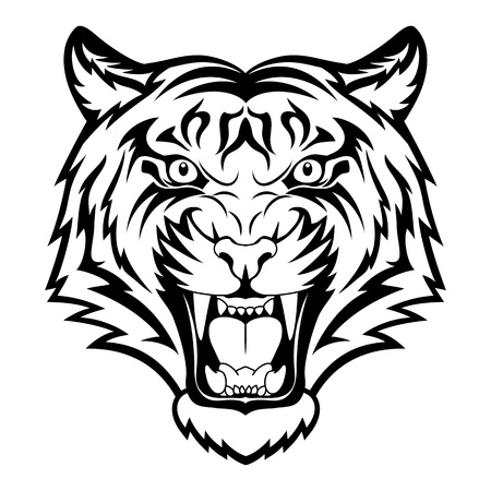 Tiger anger. Black tattoo. Vector illustration of a tiger head.  Vettoriali