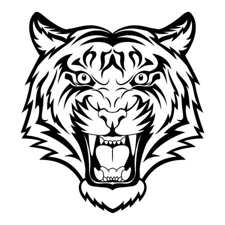 isolated tiger: Tiger rabbia. Tatuaggio nero. Illustrazione vettoriale di una testa di tigre.