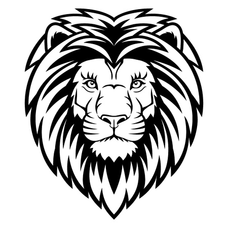 A Lion head  logo in black and white. This is vector illustration ideal for a mascot and tattoo or T-shirt graphic.  Illustration