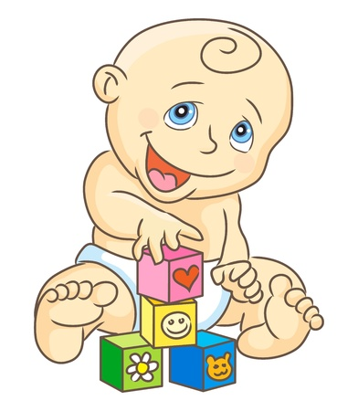 Kid plays blocks. Children's blocks. Baby toys. Isolated vector illustration.