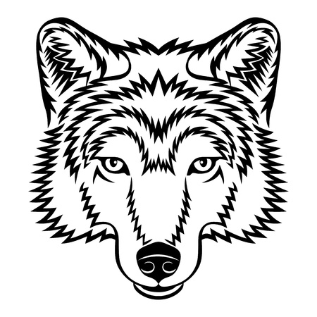 A Wolf head in black and white.