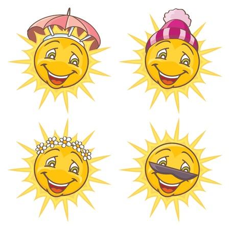 Funny sun  Four seasons set  Isolated vector illustration
