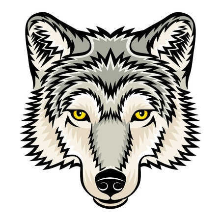 head for: A Wolf head logo  This is vector illustration ideal for a mascot and tattoo or T-shirt graphic