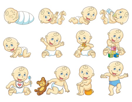 toddler playing: The gradual development of the child  Growth of  the child  Isolated vector ilustration