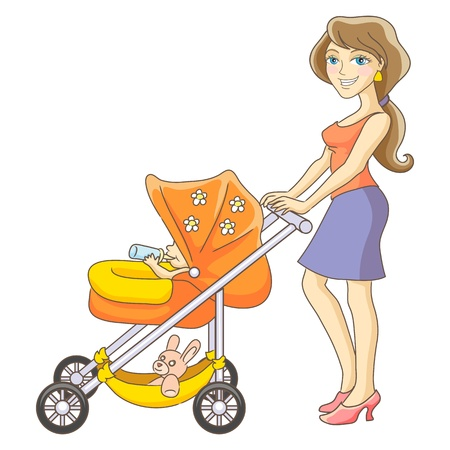 family cartoon: Young mother and baby stroller  Happy mom and baby  Isolated vector illustration
