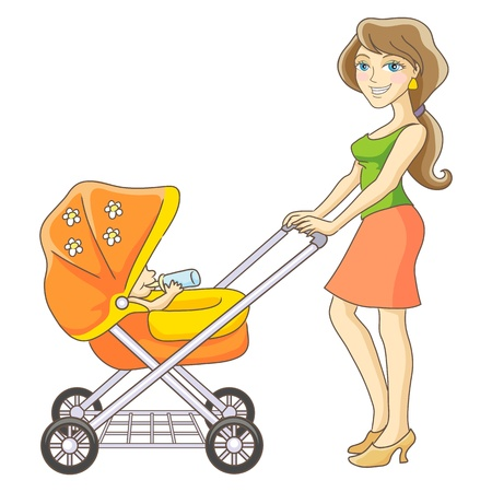 Young mother and baby stroller  Happy mom and baby  Isolated vector illustration  Vector