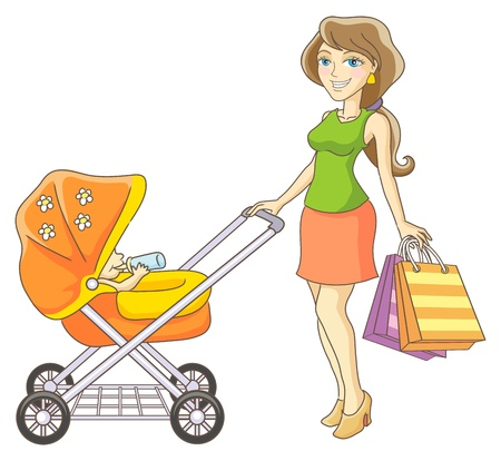 stroll: Young mother and baby stroller  Happy mother and her child went shopping  Vector illustration