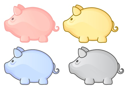 debt collection: Piggy bank group. Pink, yellow, gray, blue pig. Multicolor set.  illustration.