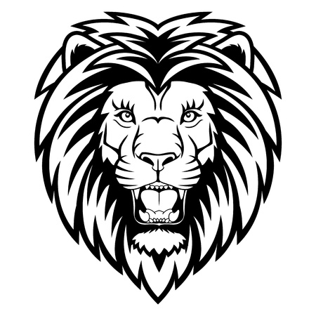 A Lion head logo. This is  illustration ideal for a mascot and tattoo or T-shirt graphic.