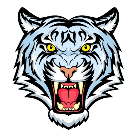big mouth: Tiger anger. This is  illustration ideal for a mascot and tattoo or T-shirt graphic.