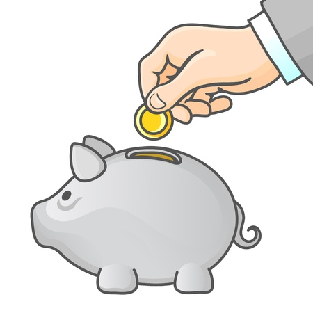 Piggy bank and hand with coin. Vector illustration. Vector