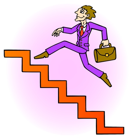 Careerist is running up the stairs. Stairway upwards.  Illustration