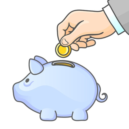 Piggy bank and hand with coin.
