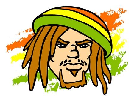 Reggae character. Portrait of Rastafarian. Stock Vector - 18344699