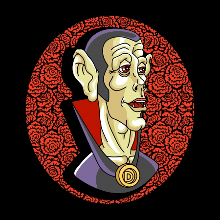Portrait of the vampire. Bizarre  person. Vector illustration. Vector