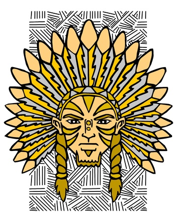 chief headdress: Aborigine of the America. Portrait of the Indian.  Illustration