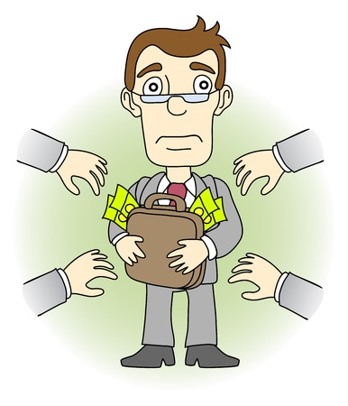 Greed man. Other people want to take his money. Vector illustration.