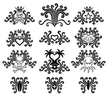 dead insect: Black tattoo set. Abstract style. Vector illustration.