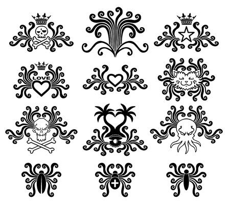 Black tattoo set. Abstract style. Vector illustration. Stock Vector - 18676635